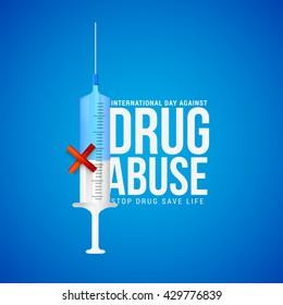 Vector illustration,poster or banner for International Day against Drug Abuse.