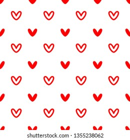 Vector Illustration,Red heart seamless pattern on white background