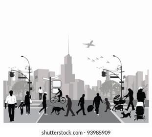 Vector illustration.Rush city street.Crowd of people walking
