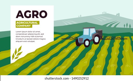 Vector illustrations of agriculture with irrigation tractor spraying on field. Design for agricultural company with tractor pours fertilizer. Template for banner, annual report, prints, flyer, layout.