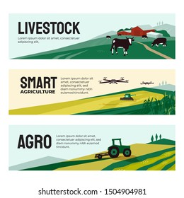 Vector illustrations of agriculture, smart farm with drone control, livestock, agricultural buildings. Set of banners with tractor on field, cows in pasture. Template for web, prints, annual report.