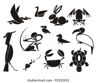 vector illustrations of animals and birds
