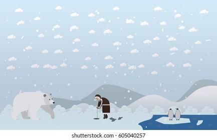 Vector illustrations of arctic landscape, eskimo man fishing, polar bear coming near him and penguins on ice. Flat style design elements.