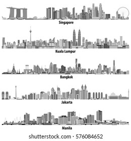 vector illustrations of asian cities(Singapore, Kuala Lumpur, Bangkok, Jakarta and Manila) skylines in black and white color palette