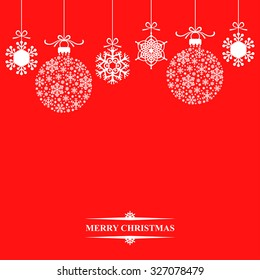 Vector illustrations of background with hanging Christmas baubles and snowflakes on red background