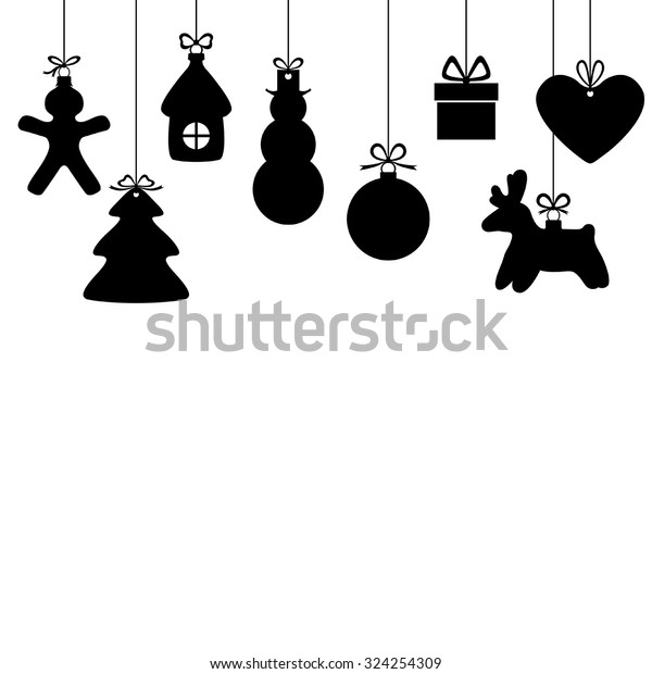 Vector illustrations of background with silhouette of hanging Christmas baubles isolated