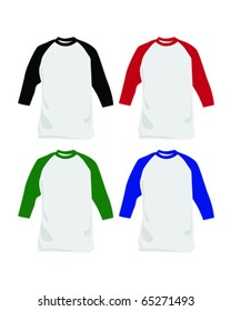 Vector illustrations of baseball t-shirts of different colors