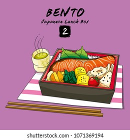 Vector illustrations of Bento Japanese lunch box and chopsticks with rice, vegetables, eggs, meat