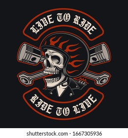 Vector illustrations of biker skull with crossed pistons on the dark background. This design is perfect for logos, shirt prints and many uses as well.