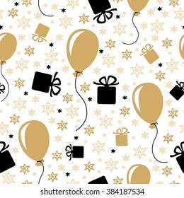 Vector illustrations of Birthday pattern seamless with gifts and balloons isolated on white background