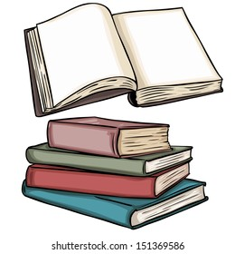 vector illustrations: blank open book and stack of books