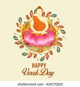 Vector illustrations of Buddha Purnima or happy Vesak day.