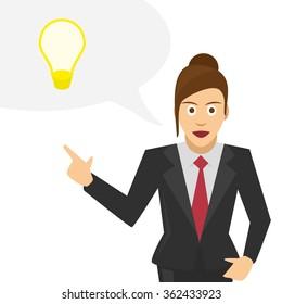 Vector illustrations businessman tells a brilliant idea. Woman businessman discusses his idea.