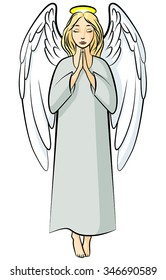 Vector illustrations of cartoon color praying angel
