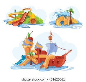 Vector illustrations. Cartoon pictures set of water slide for web, site, advertising, banner, poster, board and print.