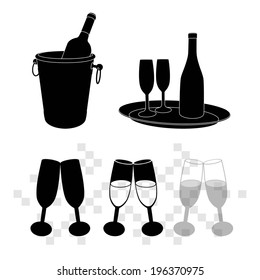 vector illustrations of champagne bottle in bucket and glasses of champagne