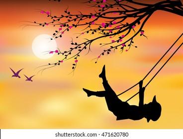 Vector illustrations, Children Play swings