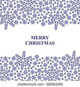 Vector illustrations of Christmas blue snowflakes card with on white background