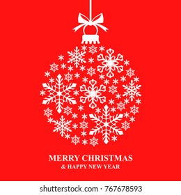 Vector illustrations of Christmas card with decorative snow bauble on red background