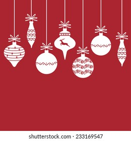 Vector illustrations of Christmas card with white silhouettes decorative baubles hanging on ribbons with bows on red background