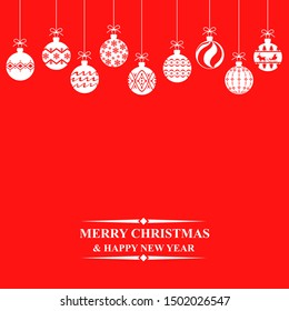 Vector illustrations of Christmas greeting card with hanging balls