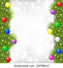 Vector illustrations of Christmas greeting card with fir branch garland decorated multicolor balls on gray blur background with snowflakes