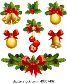 vector illustrations - christmas ornaments icons