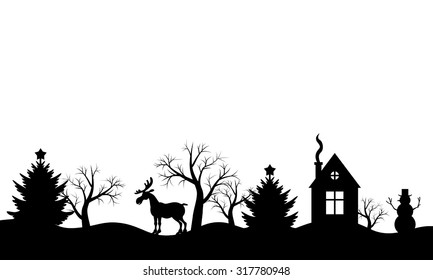 Vector illustrations of Christmas silhouette winter landscape