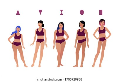 Vector illustrations collection of female body types characters isolated on white background.