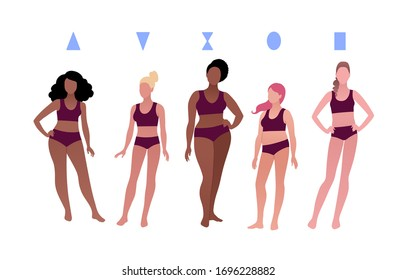 Vector illustrations collection of multiethnic characters body-positive female body types isolated on white background.