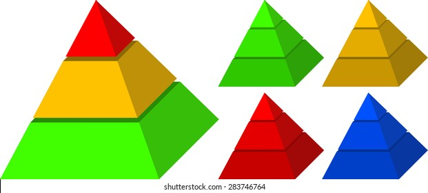Vector illustrations of colorful pyramids. Pyramids were cut in three layers and colored in bright colors. Illustration could be used as part of infographics, business reports and learning materials.