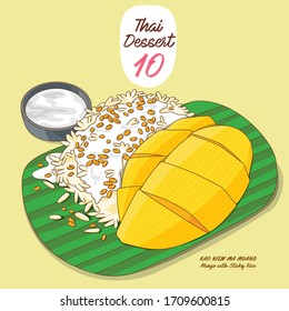 Vector illustrations of colorful Thai dessert, Mango with Sticky Rice