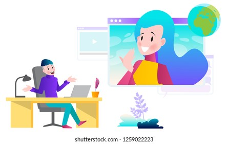Vector illustrations concept of distance education, online courses, webinars, trainings. Modern flat design for online advertising, web banners and much more.