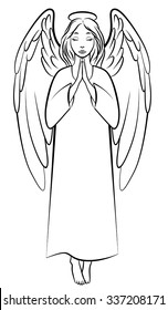 Vector illustrations of contour praying angel