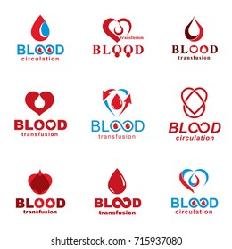 Vector illustrations created on blood donation theme, blood transfusion and circulation metaphor. Rehabilitation conceptual vector logotypes for use in pharmacology.