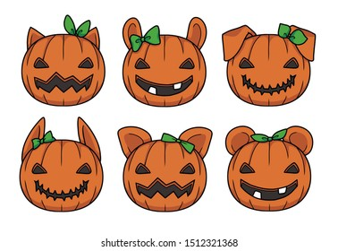 Vector illustrations of cute orange cartoon style carved Halloween pumpkin lanterns with different animal ears and green ribbons
