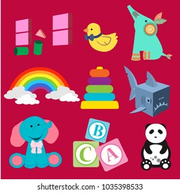 Vector Illustrations Cute Toys Baby DevelopmentpyramidElephant Panda English Alphabet