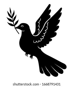 Vector illustrations of dove with palm branch silhouette