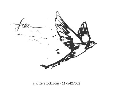 Vector illustrations of a dynamic flying swallow bird. Modern splashing ink sketchy painting artwork. Monochrome black and white drawing. Perfect or t-shirt print.