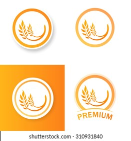 Vector Illustrations with Ears of Wheat - set with icon of Premium Quality Farm Product in orange color
