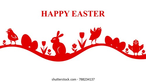 Vector illustrations of Easter banner with chick and bunny