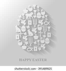Vector illustrations of Egg flat icon of Easter symbols Cross, Gospel, candles, dove, lamb, hare on gray background