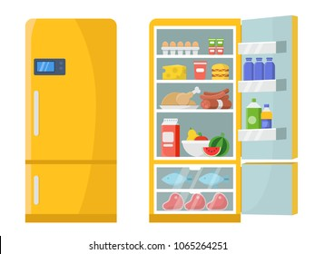 Vector illustrations of empty and closed refrigerator with different healthy food. Refrigerator kitchen, freeze meat on shelf