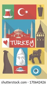 vector illustrations of famous cultural symbols of turkey istanbul on a poster or postcard