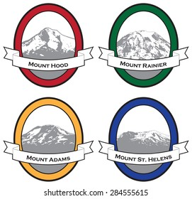 Vector illustrations of famous mountains of the Pacific Northwest