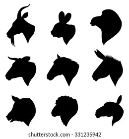 Vector illustrations of farm animals heads silhouettes set