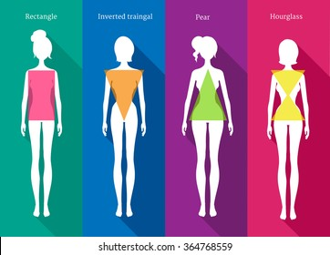 Vector illustrations of female body types white silhouettes with shadows on colored background.