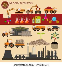 Vector illustrations for fertilizer production.