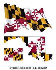 Vector illustrations of Maryland's flag, waving and flat, and map with the flag inserted and inner shadow. All elements neatly on well described layers.