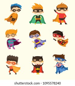 Vector illustrations in flat design of boys superheroes in funny comics costumes